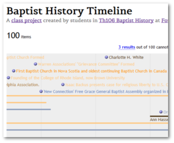 Baptist History Timeline project